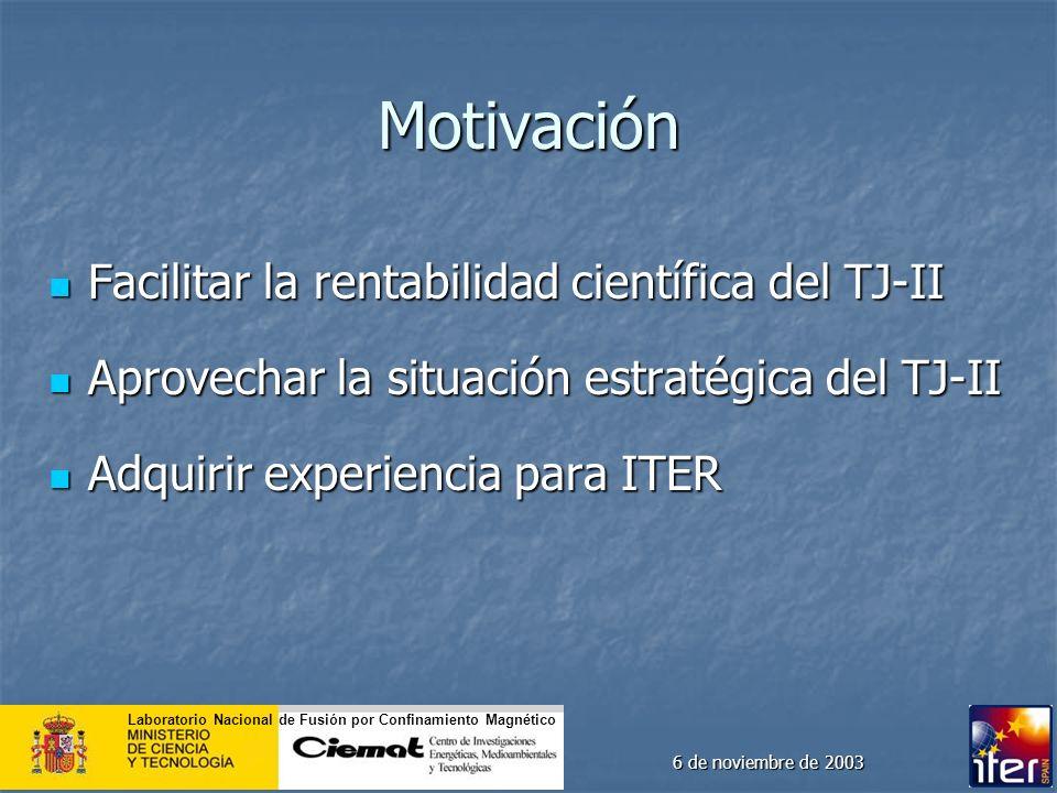 Motivación Facilitar la rentabilidad científica del TJ-II