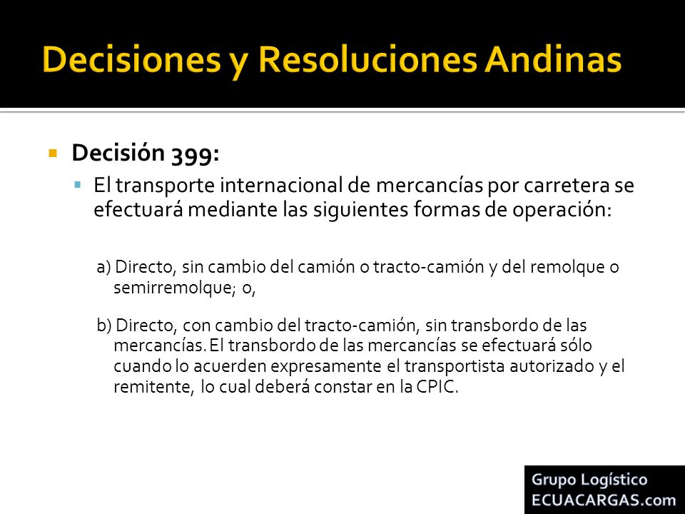 Decisiones y Resoluciones Andinas