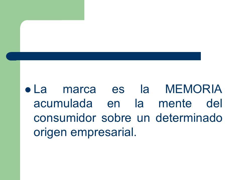 La marca es la MEMORIA acumulada en la mente del consumidor sobre un determinado origen empresarial.