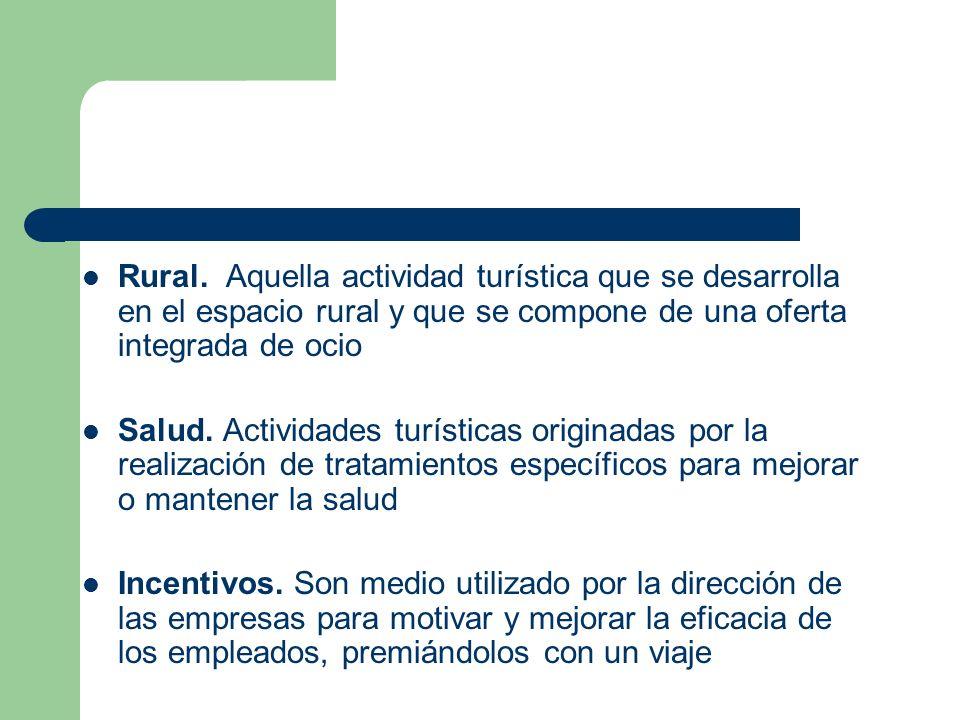 Rural. Aquella actividad turística que se desarrolla en el espacio rural y que se compone de una oferta integrada de ocio