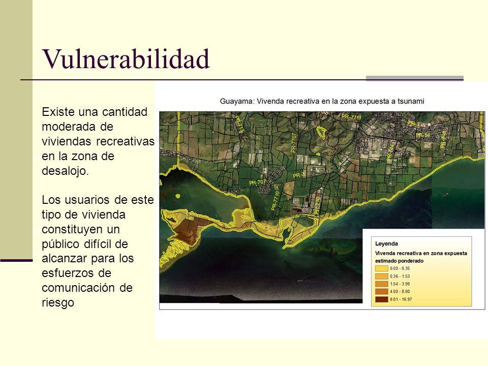 Vulnerabilidad Existe una cantidad moderada de viviendas recreativas en la zona de desalojo.