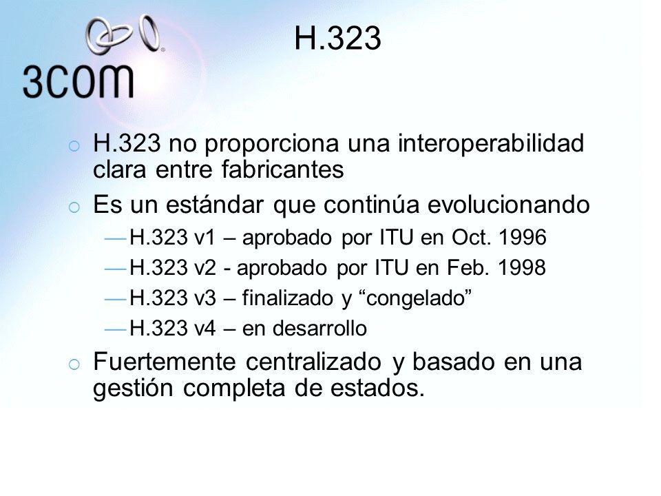H.323 H.323 no proporciona una interoperabilidad clara entre fabricantes. Es un estándar que continúa evolucionando.