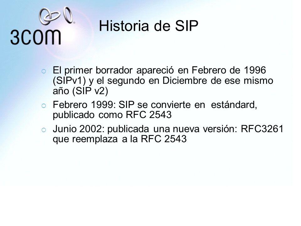 Historia de SIPEl primer borrador apareció en Febrero de 1996 (SIPv1) y el segundo en Diciembre de ese mismo año (SIP v2)