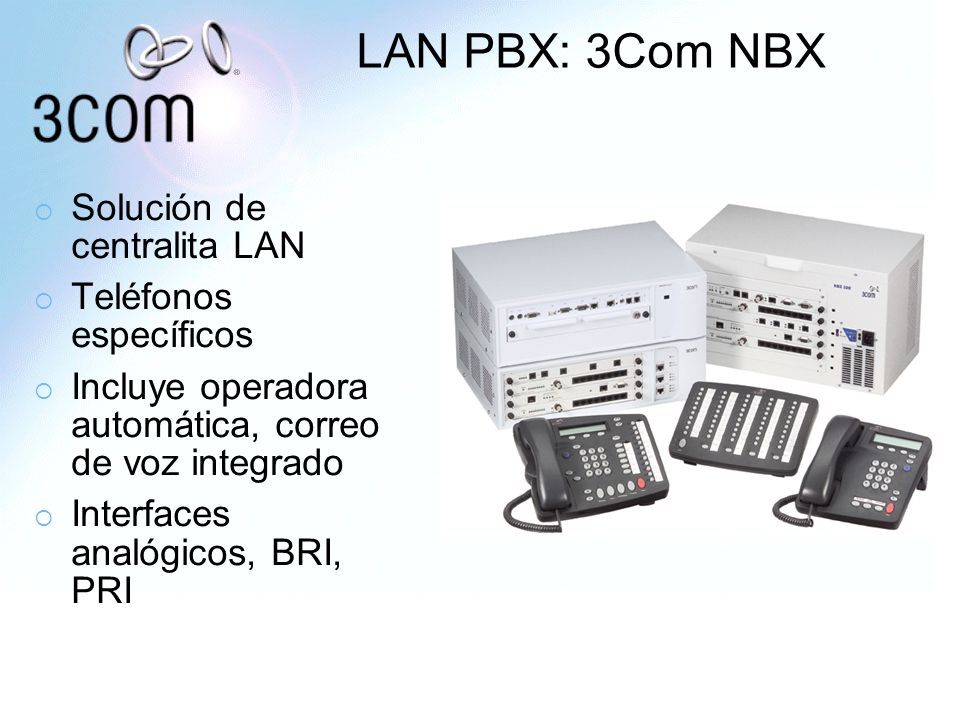 LAN PBX: 3Com NBX Solución de centralita LAN Teléfonos específicos