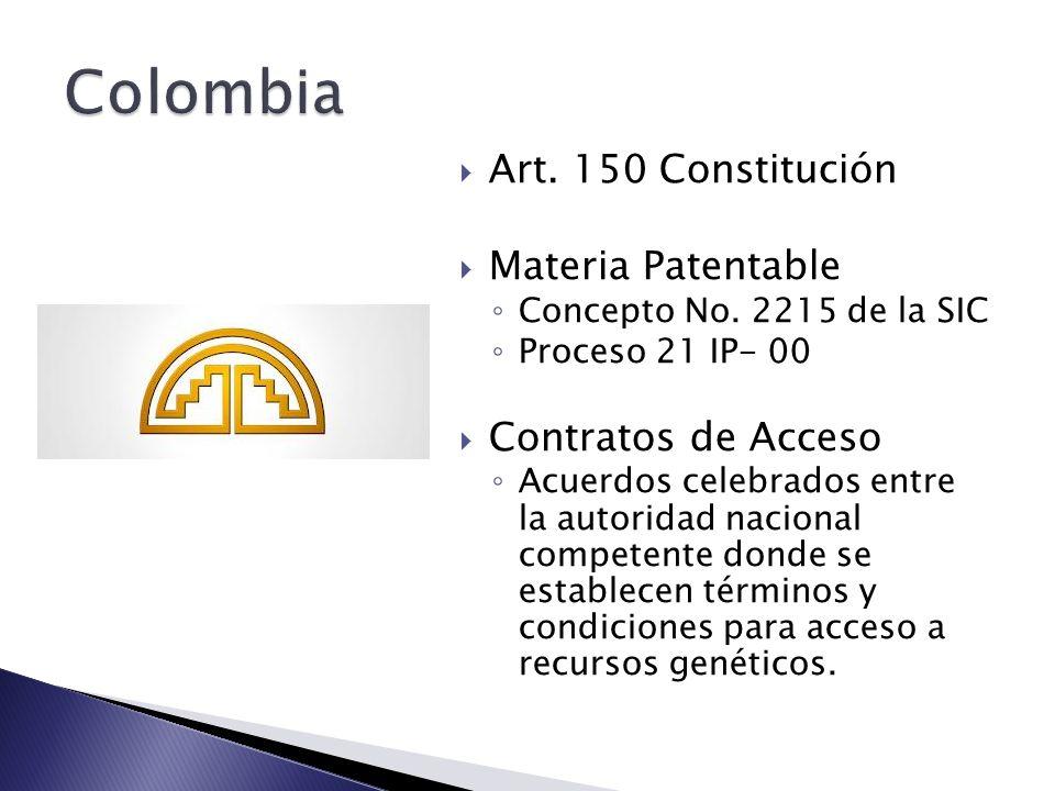Colombia Art. 150 Constitución Materia Patentable Contratos de Acceso