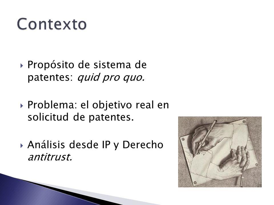 Contexto Propósito de sistema de patentes: quid pro quo.