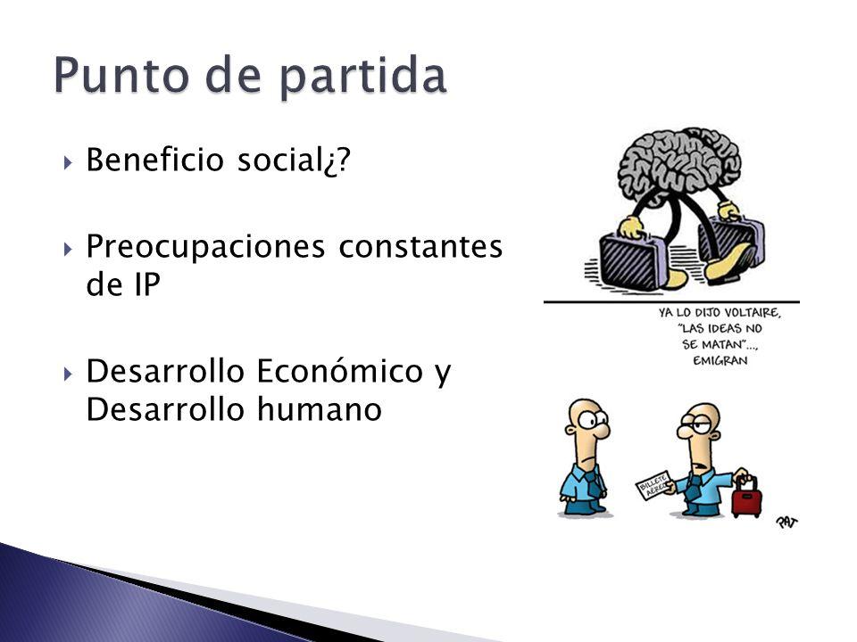 Punto de partida Beneficio social¿ Preocupaciones constantes de IP
