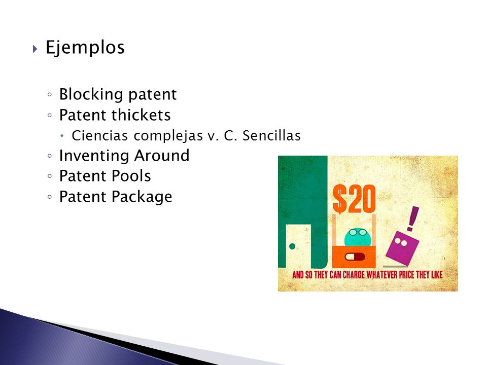 Ejemplos Blocking patent Patent thickets Inventing Around Patent Pools