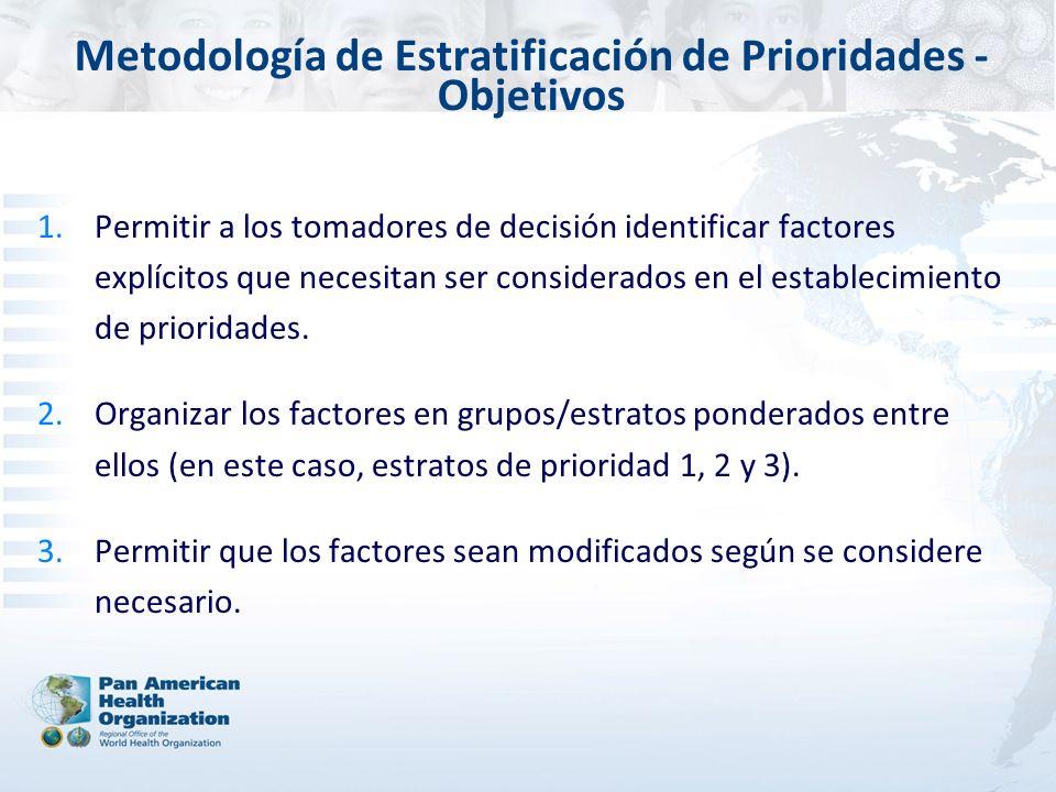 Metodología de Estratificación de Prioridades - Objetivos