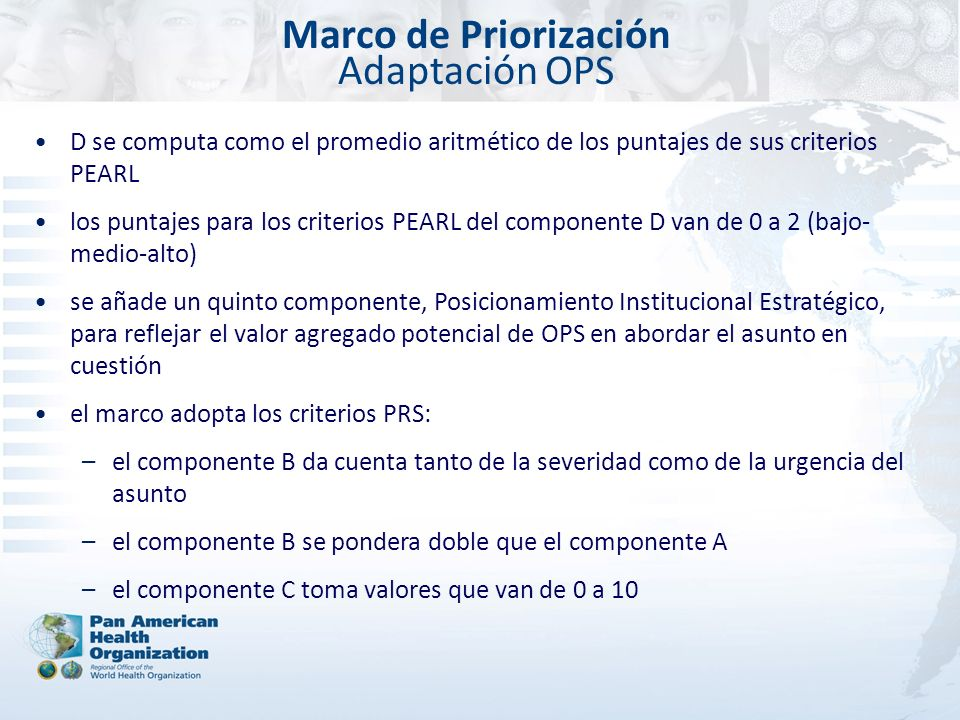 Marco de Priorización Adaptación OPS