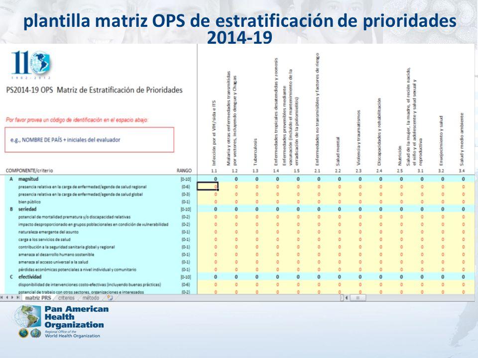 plantilla matriz OPS de estratificación de prioridades 2014-19