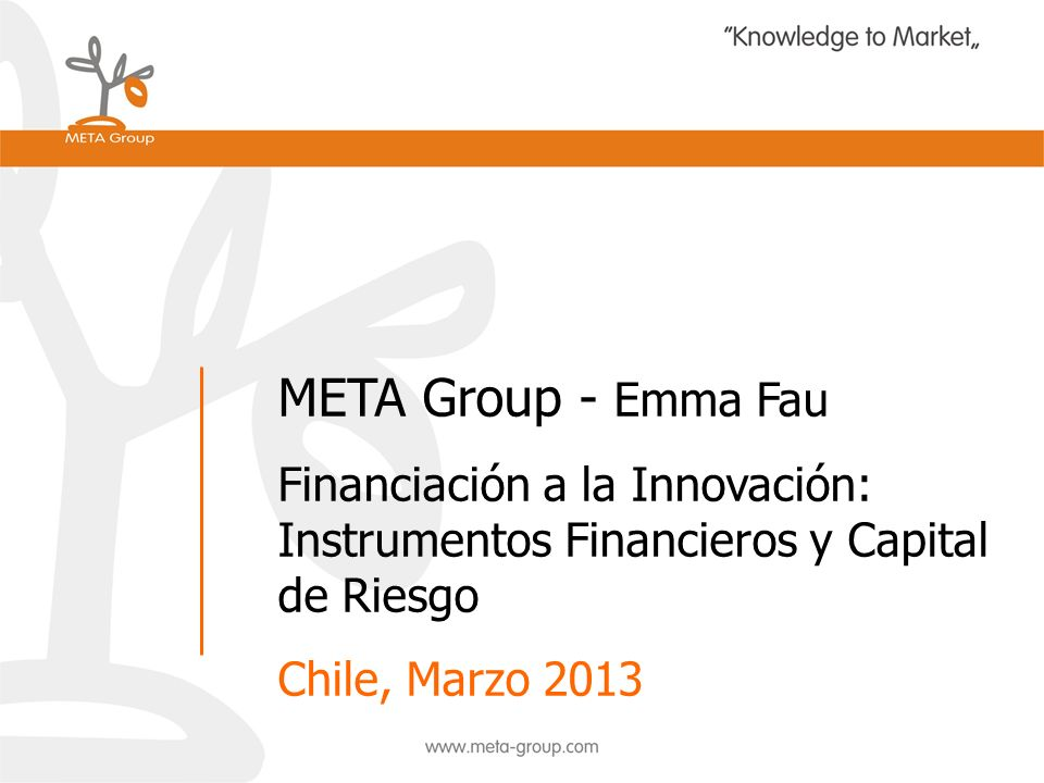 META Group - Emma Fau Financiación a la Innovación: Instrumentos Financieros y Capital de Riesgo.