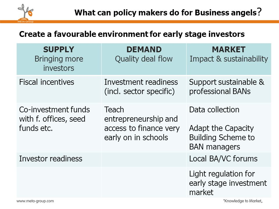 What can policy makers do for Business angels