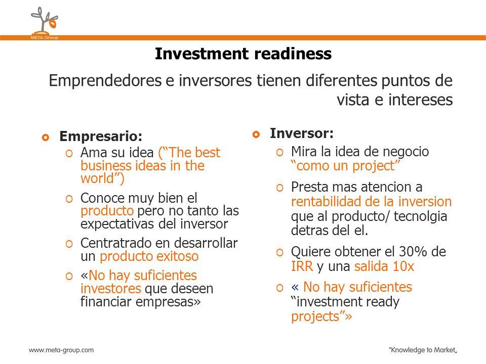 Investment readiness Emprendedores e inversores tienen diferentes puntos de vista e intereses. Inversor: