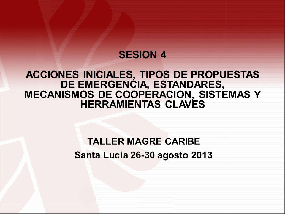 SESION 4 ACCIONES INICIALES, TIPOS DE PROPUESTAS DE EMERGENCIA, ESTANDARES, MECANISMOS DE COOPERACION, SISTEMAS Y HERRAMIENTAS CLAVES.