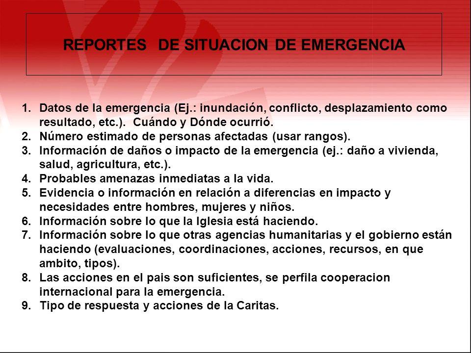 REPORTES DE SITUACION DE EMERGENCIA