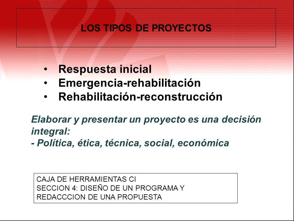 Emergencia-rehabilitación Rehabilitación-reconstrucción