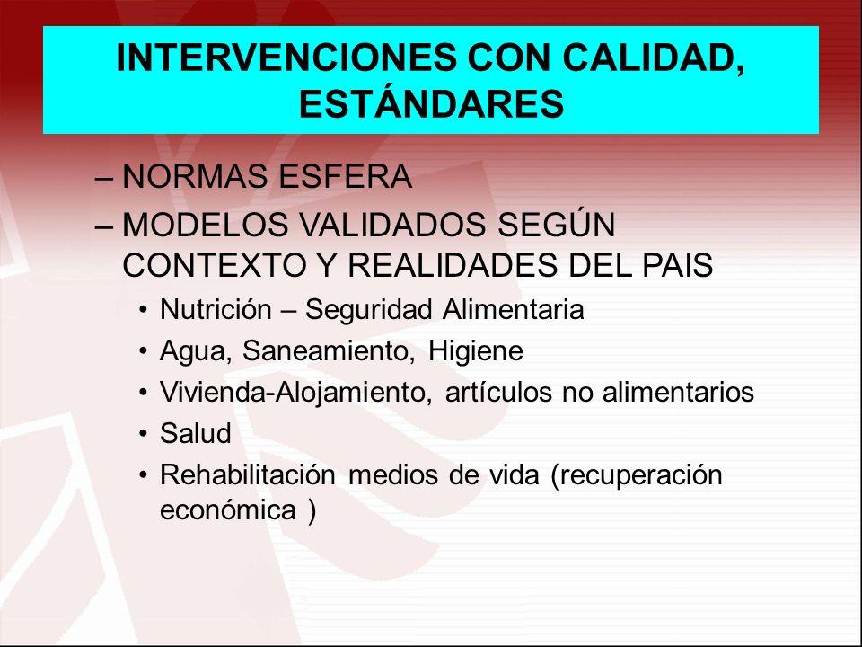INTERVENCIONES CON CALIDAD, ESTÁNDARES