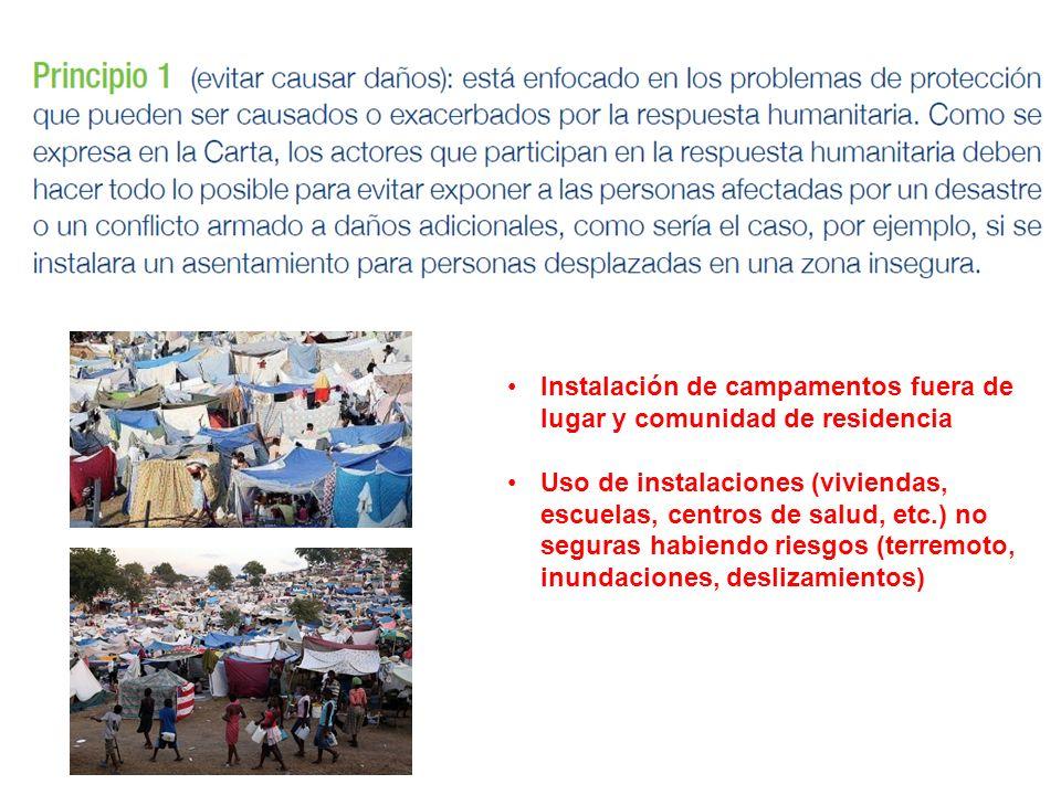 Instalación de campamentos fuera de lugar y comunidad de residencia