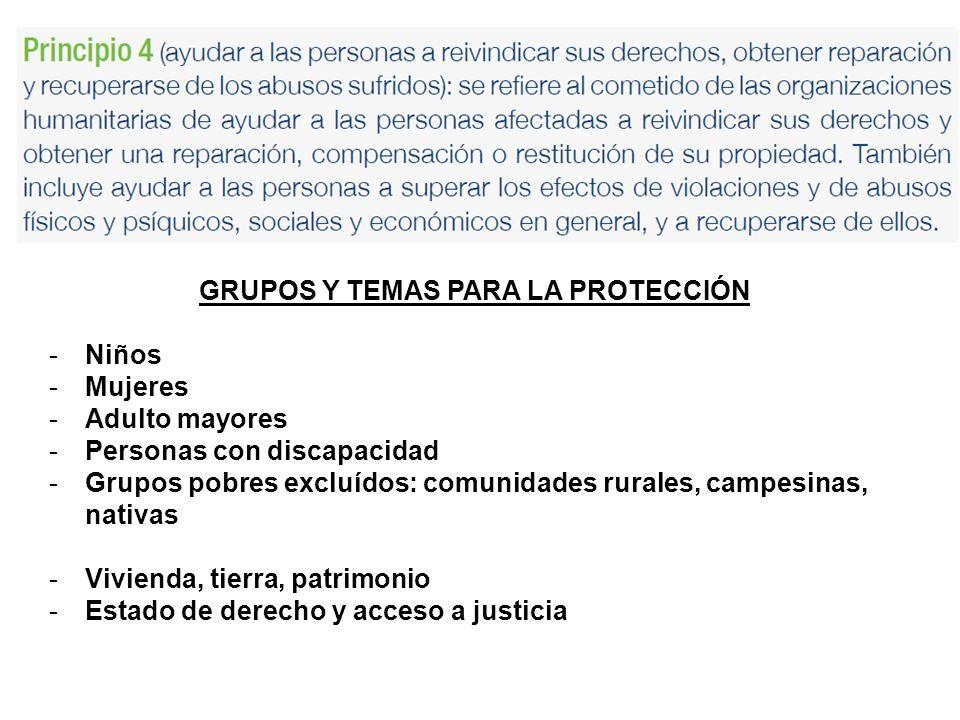 GRUPOS Y TEMAS PARA LA PROTECCIÓN
