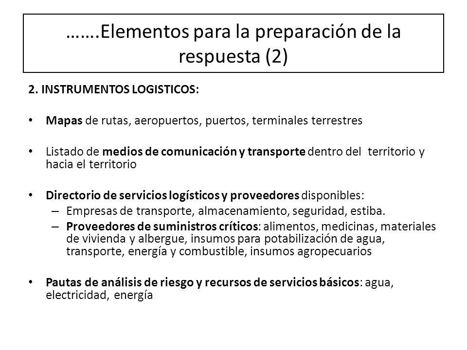 …….Elementos para la preparación de la respuesta (2)
