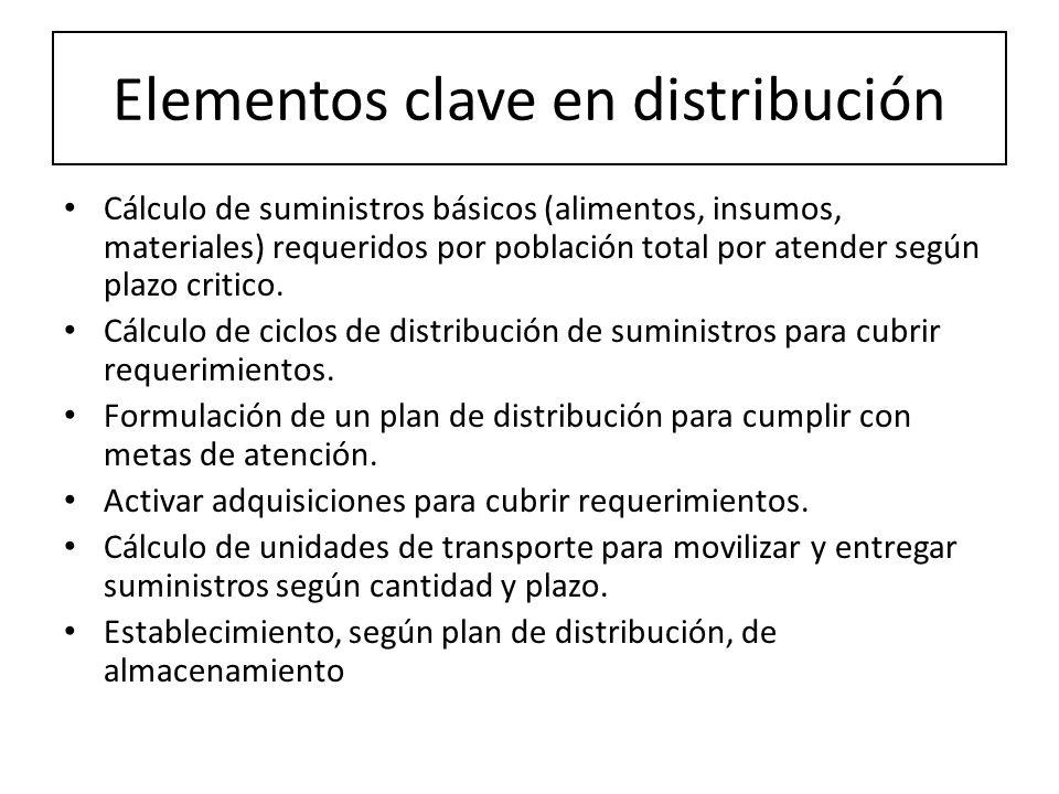 Elementos clave en distribución