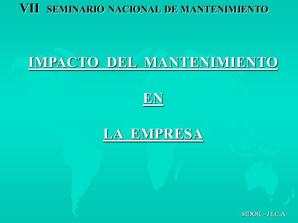 IMPACTO DEL MANTENIMIENTO EN