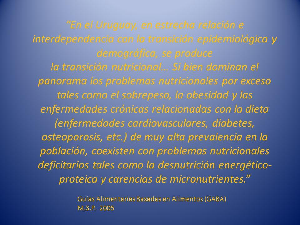 En el Uruguay, en estrecha relación e interdependencia con la transición epidemiológica y demográfica, se produce