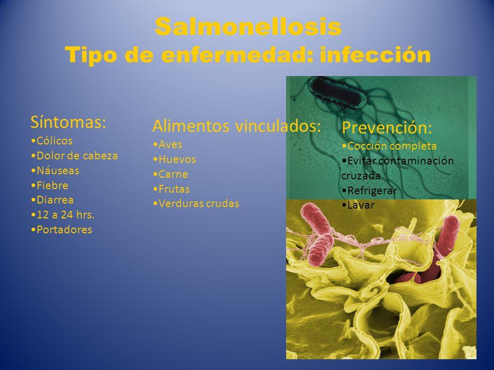 Salmonellosis Tipo de enfermedad: infección