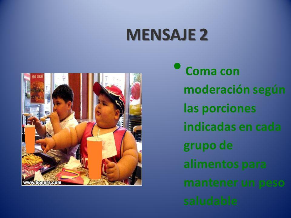 MENSAJE 2 Coma con moderación según las porciones indicadas en cada grupo de alimentos para mantener un peso saludable.