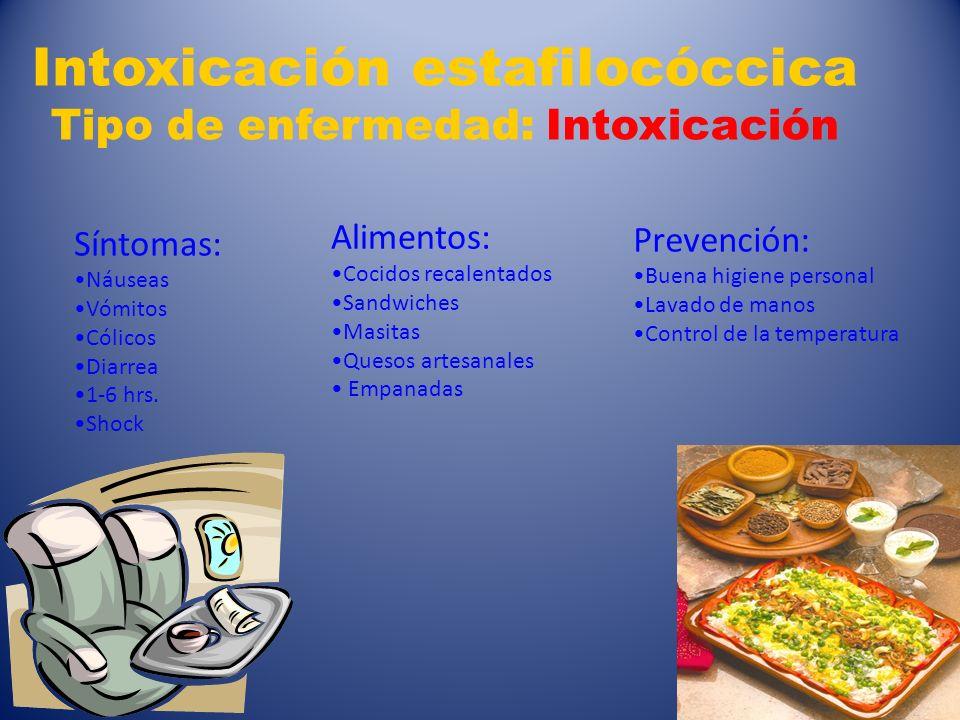 Intoxicación estafilocóccica Tipo de enfermedad: Intoxicación