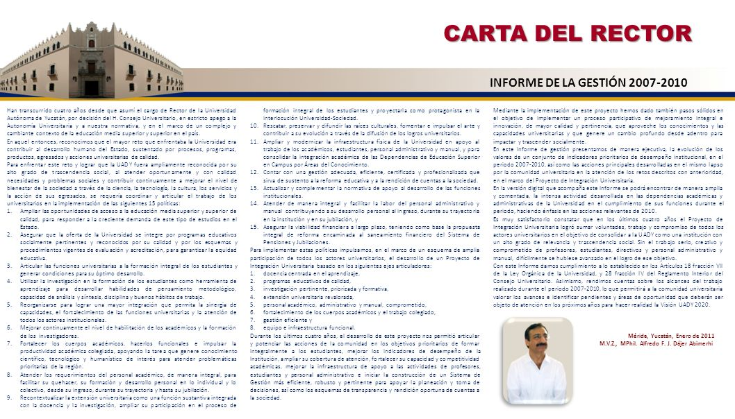 CARTA DEL RECTOR INFORME DE LA GESTIÓN 2007-2010