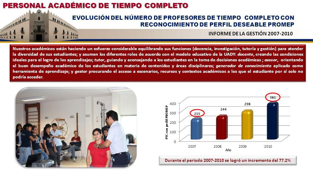 Durante el periodo 2007-2010 se logró un incremento del 77.2%