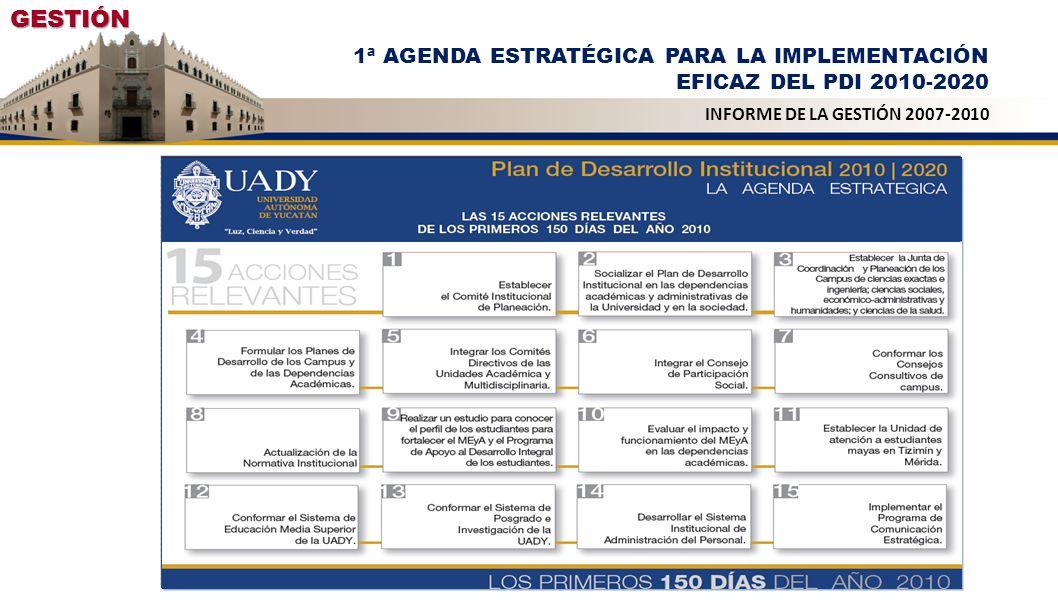 GESTIÓN 1ª AGENDA ESTRATÉGICA PARA LA IMPLEMENTACIÓN EFICAZ DEL PDI 2010-2020.
