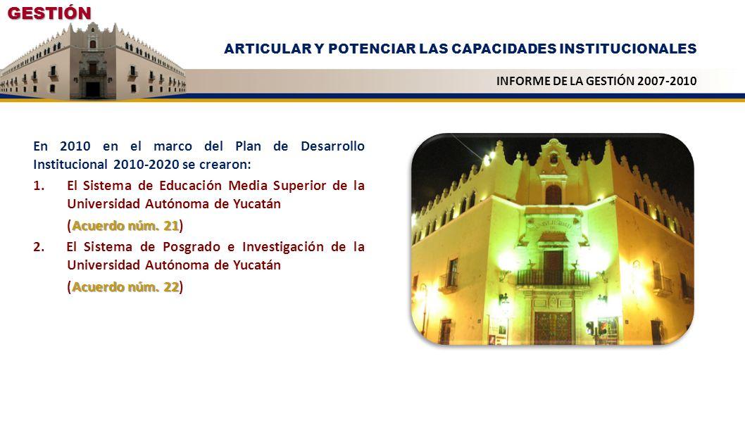 GESTIÓN ARTICULAR Y POTENCIAR LAS CAPACIDADES INSTITUCIONALES. INFORME DE LA GESTIÓN 2007-2010.