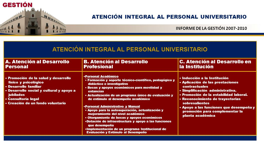 ATENCIÓN INTEGRAL AL PERSONAL UNIVERSITARIO
