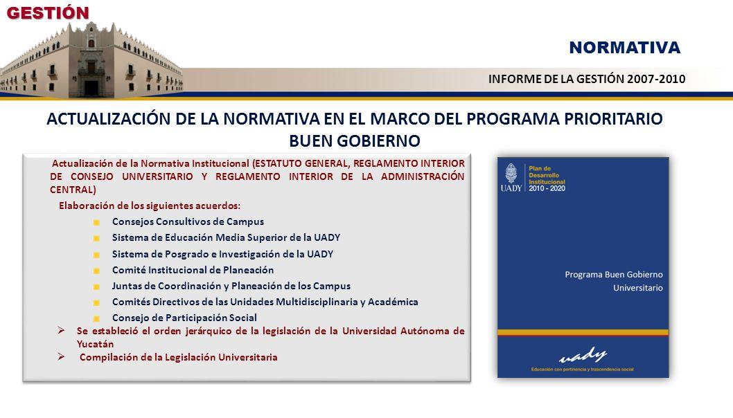 GESTIÓN NORMATIVA. INFORME DE LA GESTIÓN 2007-2010. ACTUALIZACIÓN DE LA NORMATIVA EN EL MARCO DEL PROGRAMA PRIORITARIO BUEN GOBIERNO.