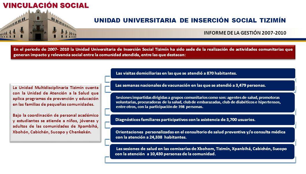 VINCULACIÓN SOCIAL UNIDAD UNIVERSITARIA DE INSERCIÓN SOCIAL TIZIMÍN