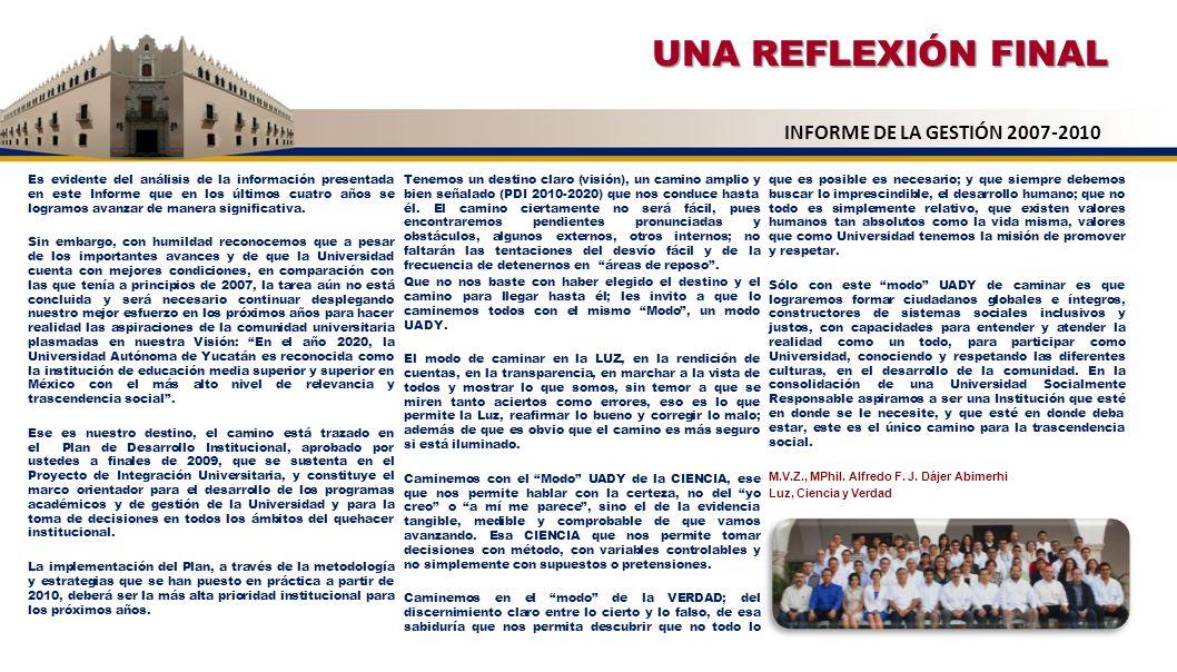 UNA REFLEXIÓN FINAL INFORME DE LA GESTIÓN 2007-2010