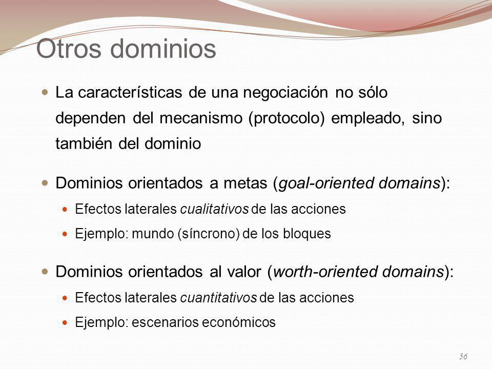 29/03/2017 Otros dominios. La características de una negociación no sólo dependen del mecanismo (protocolo) empleado, sino también del dominio.