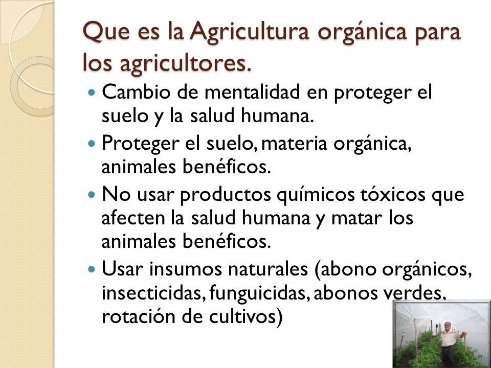 Que es la Agricultura orgánica para los agricultores.
