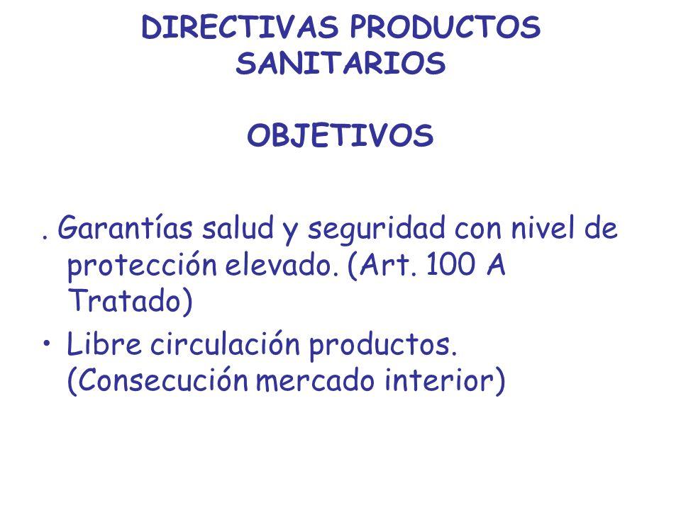 DIRECTIVAS PRODUCTOS SANITARIOS OBJETIVOS