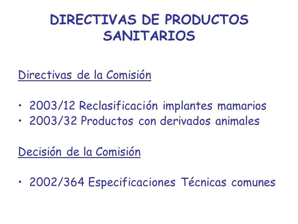 DIRECTIVAS DE PRODUCTOS SANITARIOS
