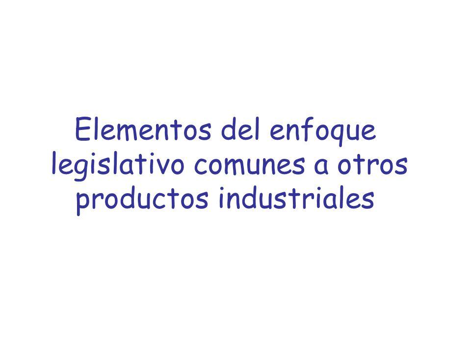 Elementos del enfoque legislativo comunes a otros productos industriales