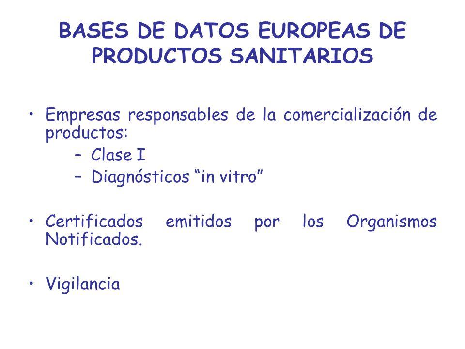 BASES DE DATOS EUROPEAS DE PRODUCTOS SANITARIOS