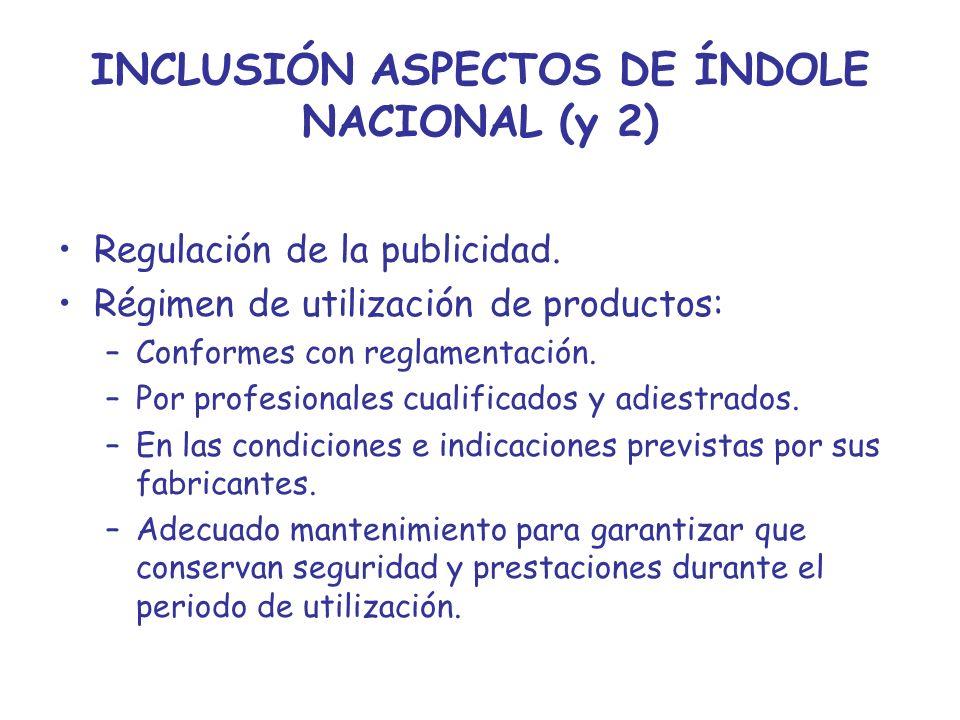 INCLUSIÓN ASPECTOS DE ÍNDOLE NACIONAL (y 2)