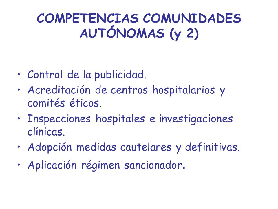COMPETENCIAS COMUNIDADES AUTÓNOMAS (y 2)