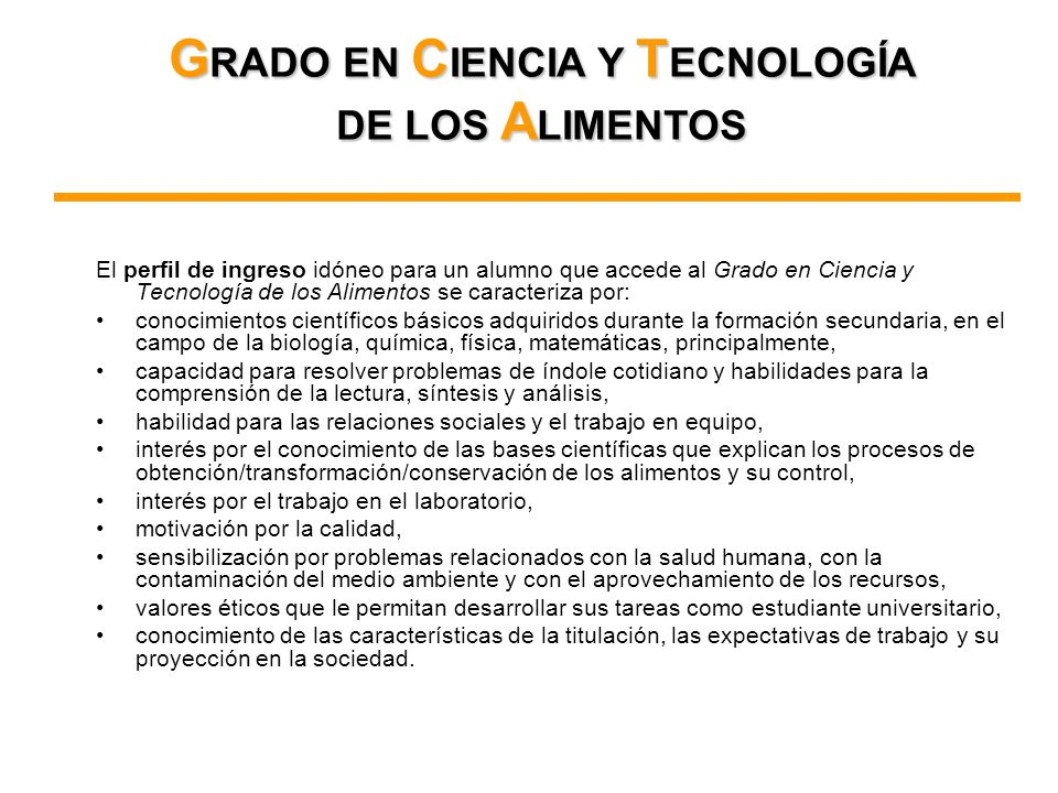 GRADO EN CIENCIA Y TECNOLOGÍA DE LOS ALIMENTOS