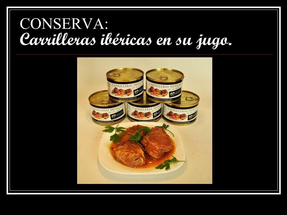 CONSERVA: Carrilleras ibéricas en su jugo.