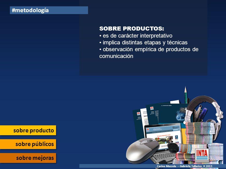 #metodología sobre producto sobre públicos sobre mejoras